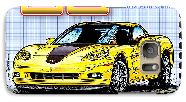 Galaxy Case featuring the drawing 2008 Zhz Hertz Fun Club Corvette by K Scott Teeters