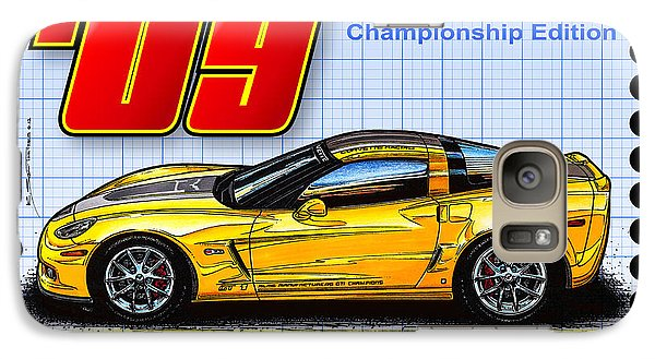 Galaxy Case featuring the drawing 2009 Gt-1 Championship Edition Corvette by K Scott Teeters