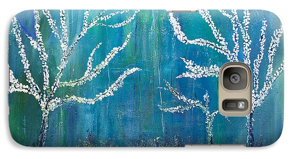 Galaxy Case featuring the painting 3 White Trees by Dolores  Deal