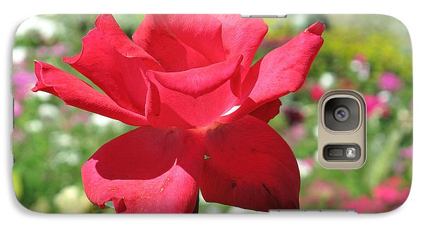 Galaxy Case featuring the photograph A Beautiful Red Flower Growing At Home by Ashish Agarwal