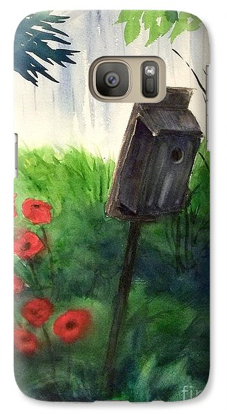 Galaxy Case featuring the painting A Bird House In The Geddes Farm --ann Arbor Michigan by Yoshiko Mishina
