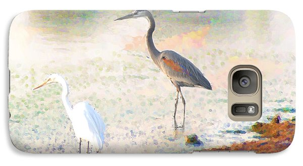 Galaxy Case featuring the photograph A Blue Heron And His Bride by John  Kolenberg