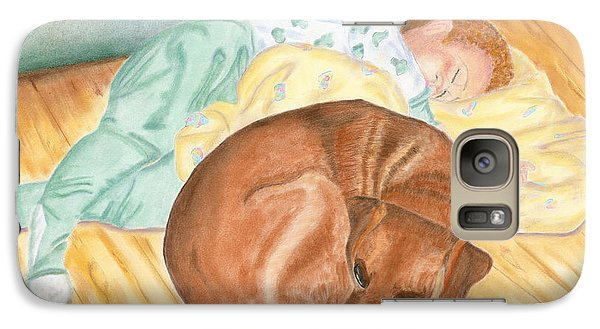 Galaxy Case featuring the painting A Dog And Her Boy by Arlene Crafton