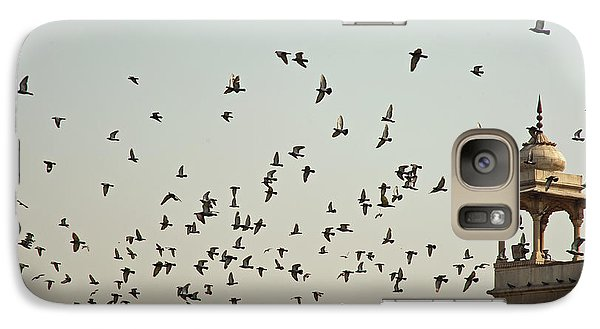 Galaxy Case featuring the photograph A Flock Of Pigeons Crowding One Of The Structures On Top Of The Red Fort by Ashish Agarwal