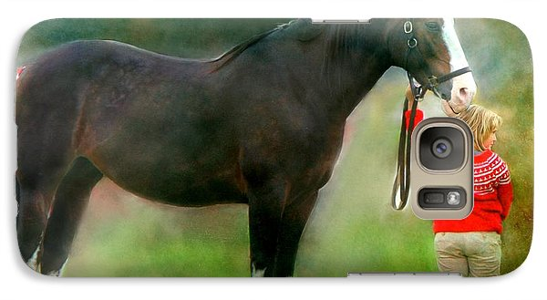 Galaxy Case featuring the photograph A Girl And Her Horse by Davandra Cribbie
