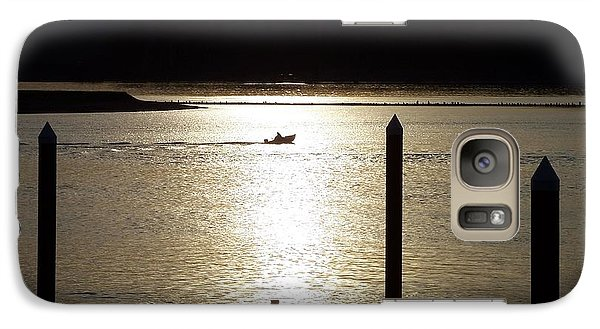 Galaxy Case featuring the photograph A Lone Boat At Sunset by Chalet Roome-Rigdon