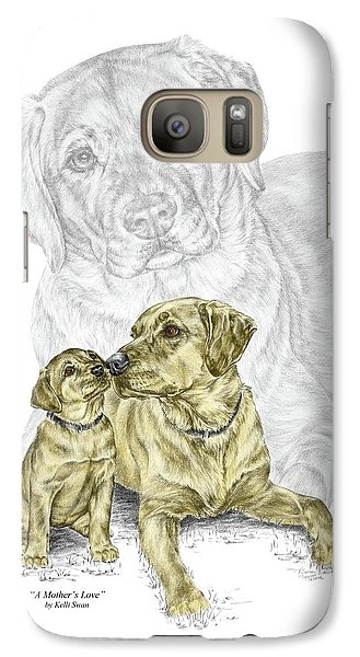 Galaxy Case featuring the drawing A Mothers Love - Labrador Dog Print Color Tinted by Kelli Swan