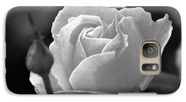Galaxy Case featuring the photograph A Rose In Black And White by Janice Adomeit