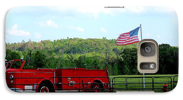 Galaxy Case featuring the photograph A Tribute To The Fireman by Kathy  White