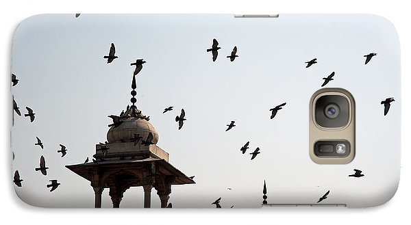 Galaxy Case featuring the photograph A Whole Flock Of Pigeons On The Top Of The Ramparts Of The Red Fort In New Delhi by Ashish Agarwal