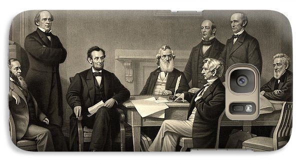 Galaxy Case featuring the photograph Abraham Lincoln At The First Reading Of The Emancipation Proclamation - July 22 1862 by International  Images