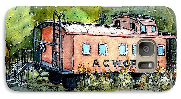 Galaxy Case featuring the painting Acworth Caboose by Gretchen Allen