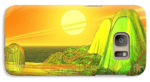 Galaxy Case featuring the digital art Green Crystal Hills by Kim Prowse