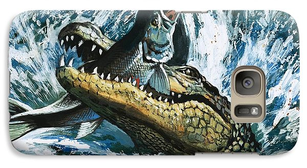 Alligator Eating Fish Galaxy S7 Case by English School