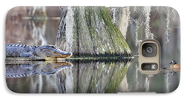 Galaxy Case featuring the photograph Alligator Waiting For Dinner by Dan Friend