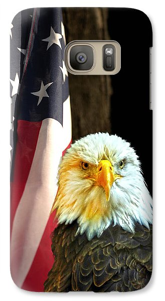 Galaxy Case featuring the photograph American Eagle And American Flag by Randall Branham