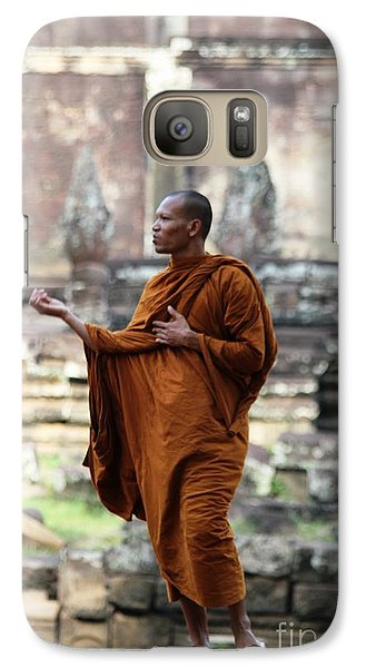 Galaxy Case featuring the photograph Angkor Wat Monk by Nola Lee Kelsey