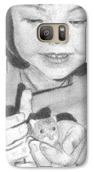 Galaxy Case featuring the drawing Annie's Little Friend - Aceo by Ana Tirolese