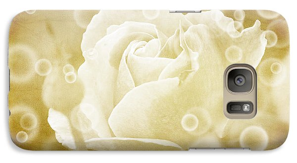 Galaxy Case featuring the photograph Antiqued Rose And Bubbles by Janice Adomeit