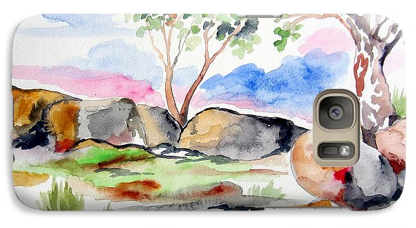 Galaxy Case featuring the painting Australian Rocks Outback by Roberto Gagliardi