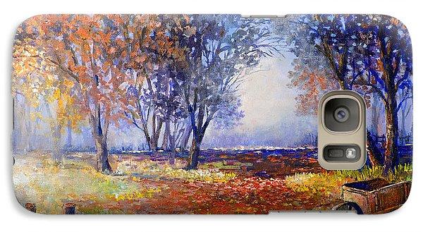 Galaxy Case featuring the painting Autumn Wheelbarrow by Lou Ann Bagnall