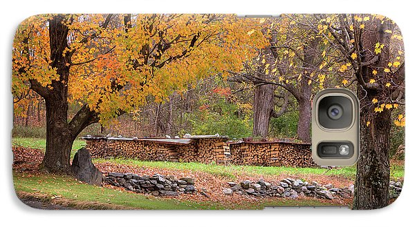 Galaxy Case featuring the photograph Autumn Woodpile by Tom Singleton