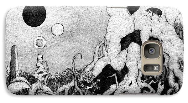 Galaxy Case featuring the drawing Axis Mundi by Mariusz Zawadzki