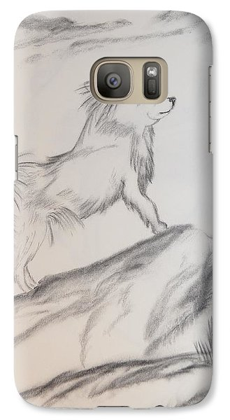 Galaxy Case featuring the drawing Aye Chihuahua by Maria Urso