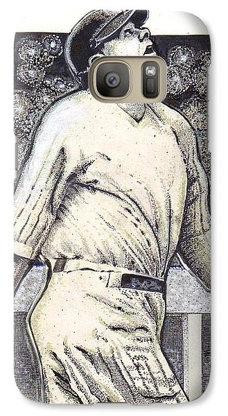 Galaxy Case featuring the mixed media Babe Ruth Hits One Out Of The Park  by Ray Tapajna