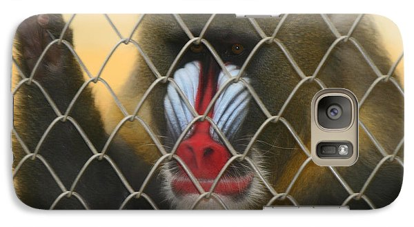 Galaxy Case featuring the photograph Baboon Behind Bars by Kym Backland