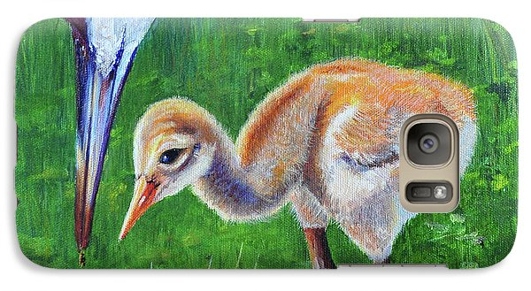 Galaxy Case featuring the painting Baby Crane's Lesson by AnnaJo Vahle
