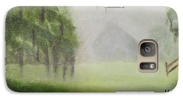 Galaxy Case featuring the painting Barn On Foggy Morning by Margaret Harmon