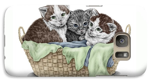 Galaxy Case featuring the drawing Basket Of Kittens - Cats Art Print Color Tinted by Kelli Swan