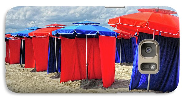Galaxy Case featuring the photograph Beach Umbrellas Nice France by Dave Mills