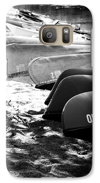 Galaxy Case featuring the photograph Beached Kayaks by Julia Wilcox