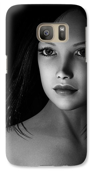 Galaxy Case featuring the painting Beautiful Portrait - Black And White by Maynard Ellis