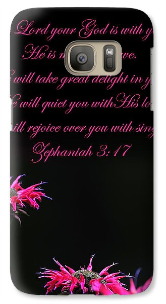 Galaxy Case featuring the photograph Bee Balm And Bible Verse by Randall Branham