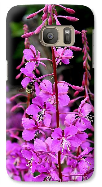 Galaxy Case featuring the photograph Bee On Fireweed In Alaska by Kathy  White