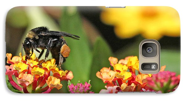 Galaxy Case featuring the photograph Bee On Lantana Flower by Luana K Perez