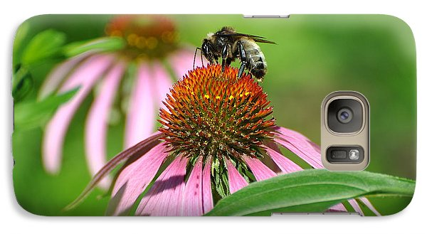Galaxy Case featuring the photograph Bee On Pink Flower by Jodi Terracina