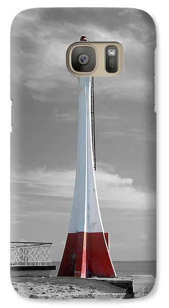 Galaxy Case featuring the photograph Belize City Lighthouse Color Splash Black And White by Shawn O'Brien