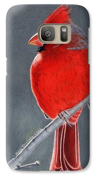 Galaxy Case featuring the drawing Big Red Northern Cardinal by Ana Tirolese