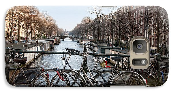 Galaxy Case featuring the digital art Bikes On The Canal In Amsterdam by Carol Ailles