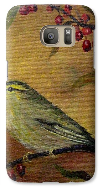 Galaxy Case featuring the painting Bird And Berries by Gretchen Allen