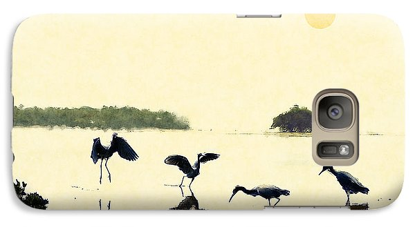 Galaxy Case featuring the photograph birds feeding in the Everglades by Dan Friend