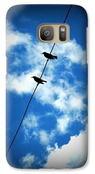 Galaxy Case featuring the photograph Birds On A Wire by Robin Dickinson