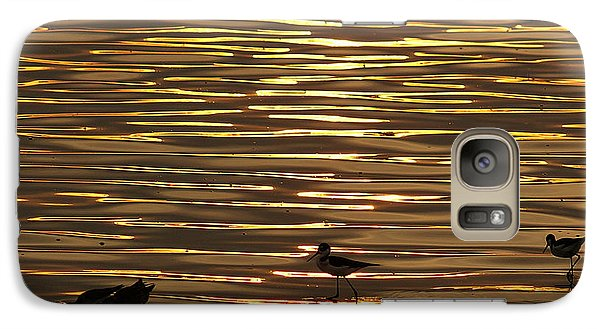 Galaxy Case featuring the photograph Birds Walking In Gold Water Waves by John  Kolenberg
