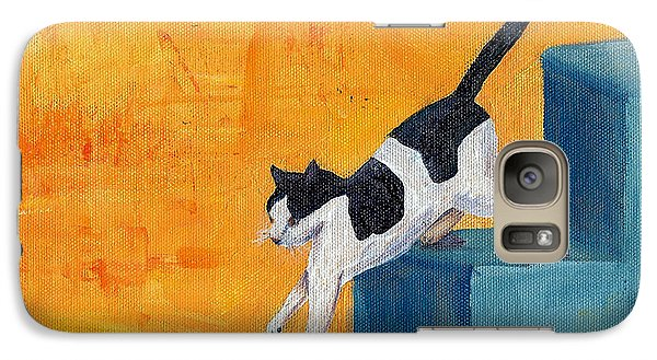 Galaxy Case featuring the painting Black And White Cat Descending Blue Stairs by Terry Taylor