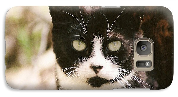 Galaxy Case featuring the photograph Black And White Feral Cat by Chriss Pagani