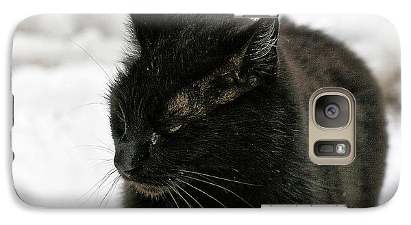 Galaxy Case featuring the photograph Black Cat White Snow by Chriss Pagani